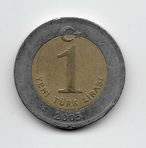 World Coins - Turkey 1 Lirasi 2005 Bi-Metallic Coin KM# 1169