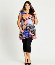 AUTOGRAPH TOP EMBELLISHED MULTI PRINT TUNIC TOP, Plus Sz 20  RRP $60 NWT
