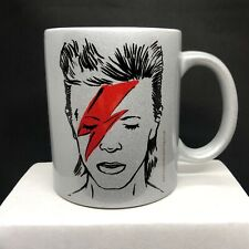 Sparkly SILVER Illustrated DAVID BOWIE mug for any Bowie fan