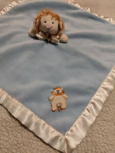"Blankets Beyond Blue Lovey Security Baby Blanket LION Head Plush Satin Trim 18"""