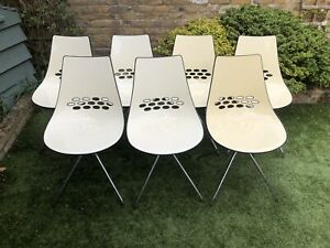 Calligaris Jam Chairs White/brown, Set Of 7