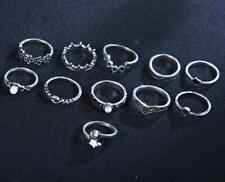 Vintage Silver 11Pcs Boho Ring Set Star Midi Finger Knuckle Rings Jewelry
