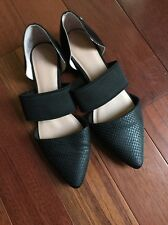 Simply Vera Vera Wang Faux Snake Leather Black Pointed Toe Flats Elastic Sz 6.5M