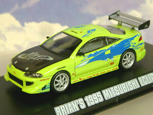GREENLIGHT 1/43 BRIAN'S 1995 MITSUBISHI ECLIPSE LIME GREEN FAST & FURIOUS 86203