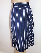 TEMT Brand Striped Navy Tie Back Straight Skirt Size L BNWT #TH33