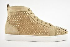 Christian Louboutin Mens Louis Flat Spike Mandorla Colombe High Top Sneaker 42.5