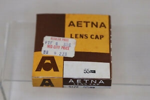 New Aetna Metal Screw in  Front Lens Cap 55 mm Japan in Box