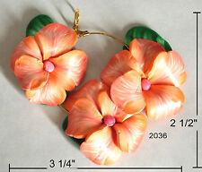 pendant, 3 flowers, handmade, polymer clay