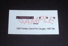 1965 PONTIAC GRAND PRIX GAUGE FACES for 1/25 scale AMT — PLEASE READ DESCRIPTION