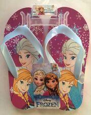 New Disney Frozen Elsa & Anna Flip Flops Slippers Magenta/ Sky Blue Size: 13/1