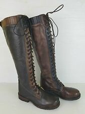 Bed Stu Dark Brown Cobbler Series Tall Lace Up Equestrian Leather Boots Size 6