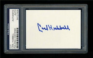 CARL HUBBELL SIGNED MINT CUT PSA/DNA SLABBED AUTOGRAPHED HOF NEW YORK GIANTS