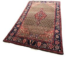 Vintage Oriental Wool Area Rug Kermanshah Reds Blues 5' x 7' 4""