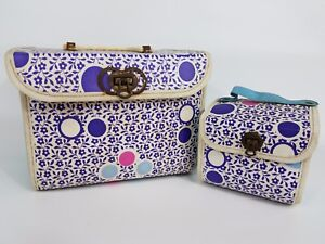 Vintage Nesting Boxes Girls Makeup Storage Carry Cases Polka Dots Flower Power