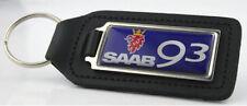 Saab 93 Quality Black Leather Keyring