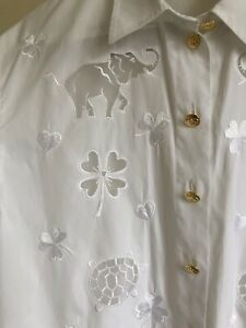 Vintage Escada By Margaretha Ley White Embroidered Shirt Size 10