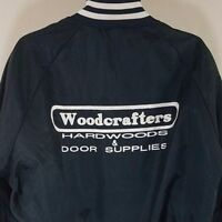 Woodcrafters Satin Bomber Jacket Vtg 80s 90s Blue Made In USA Mens Size XL