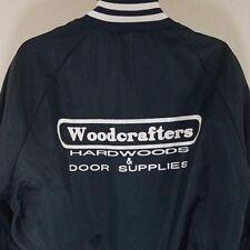 woodcrafters Satén CAZADORA DE AVIADOR VINTAGE AÑOS 80 90s Azul Hecho En EUA
