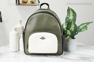 Coach C2797 Court Kelp Multi Colorblock Medium Pebbled Leather Backpack Book Bag
