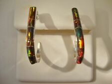 Large Golden Red BLack FIRE OPAL Ladies Sterling Silver 925 Earrings  J-hoop