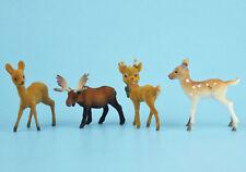 Vintage Christmas Flocked Reindeer Moose Fawn Plastic Deer