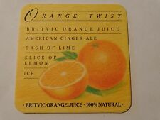 Beer Collectible COASTER: Orange Twist = BRITVIC Juice, Ginger Ale, Lime, Lemon+
