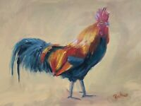 Print of Original oil painting art cockerel Impressionism shabby chic decor