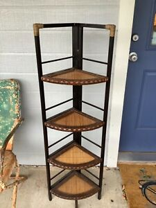 Vtg Wood Rattan wicker Shelf Corner bamboo boho mid century folding modern metal