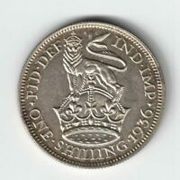 GREAT BRITAIN 1936 ONE SHILLING LION ATOP CROWN KING GEORGE V .500 SILVER COIN