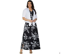 New $60 Value Denim&Co Size M Black Floral V-Neck Sleeveless Maxi Dress w/Shrug