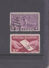 USA-2 X SPECIAL DELIVERY STAMPS-SG E648(a)/E1067-FINE USED-$3-freepost