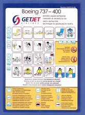 GETJET Airlines Boeing 737-400 Safety Card