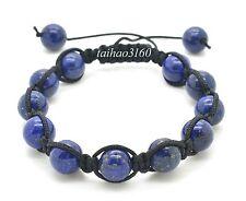 Natural 10mm Blue LAPIS Stone Gemstone Round Bead Adjustable Shamballa Bracelet