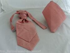 <GG> Dusky Pink Polyester BOYS Scrunchie Ruche Wedding Tie-Cravat and Hankie Set