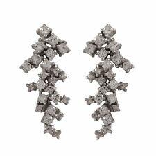 Sterling Silver CZ Cluster Waterfall Dangle Pierced Earrings
