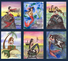 PIRATES MERMAID NOTE CARDS from Original Watercolors by Grimshaw flag boat