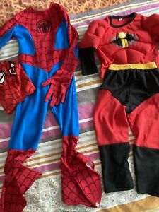 2 Superhero Children Fancy Dress Up Costumes Spiderman The Incredibles 3 4 Yrs