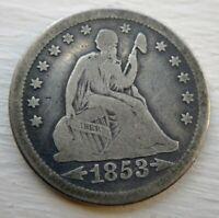 1853/4 Seated Liberty Quarter 25c Very Good+ VG or Fine F Original Problem Free
