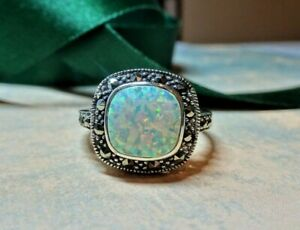 My S Collection 925 Sterling Silver, Marcasite & Opalite RING