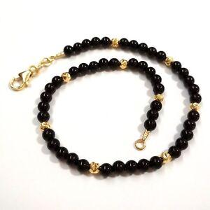 4mm Black ONYX and Gold Filled Hammered Beads BRACELET, ANKLET, Men Women Unisex