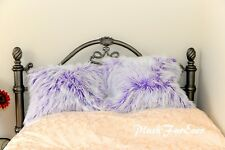 One White Purple Frost Mongolian Fur Pillowcase Cover Suede Backing Throw Pillow