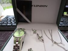 ladies n y london quartz- watch,- ring  -chain pendant -earing boxed set