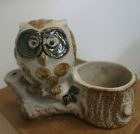 Owl on a tree trunk  Planter vintage Japan Bisque Pottery