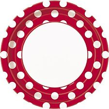 """RED POLKA DOTS - 8 Round Paper Plates -  (23cm/9"""") Spots Birthday Party"""