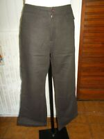 Pantalon coton/lin marron léger DIPLODOCUS  44fr brodé poisson 18JU25