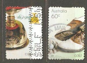Australia: 2 used stamps, sport - golf, 2011, Mi#3616-7