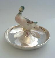 Circular Solid SILVER Dish with China Mallard. Birmingham 1924, Wm Base & Sons