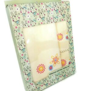 Cotton Towel Set 3 Towels New In Box Floral Light Yellow Baby Mom Friend Gift