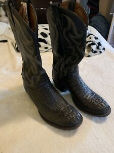 Tony Lama Head Cut Hornback Alligator Black Boots 10D