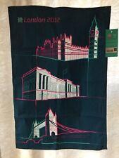 "London 2012 Olympics Auth NIB Kitchen Tea Towel 28""x19"" Teal Pink Embroided"